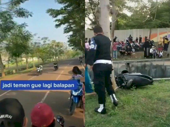 Balapan Liar Berujung Masuk ke Selokan, Bikin Netizen Geleng-geleng Kepala