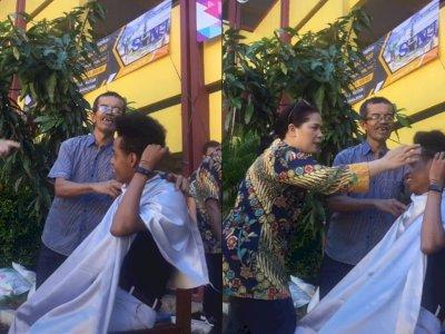 Momen Disaat Razia Rambut Di Sekolah yang Bikin Murid Laki-laki Ketakutan