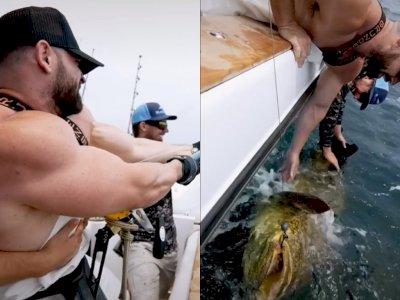 Detik-detik Pria Berotot Memancing Ikan Super Besar di Laut, Bikin Netizen Melongo