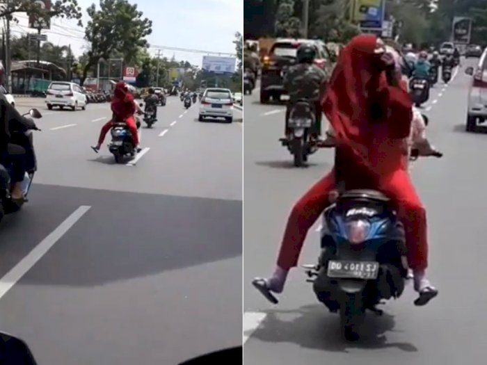 Duh! Cewek Remaja ini Bawa Motor Tak Pakai Helm dan Boncengan Hadap Belakang