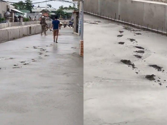 Duh! Pria ini Nekat Injak Jalan yang Baru Selesai Dicor, Bikin Netizen Geram