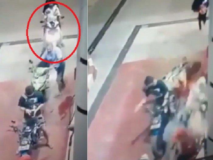 Bahaya! Bonceng Anak di Depan Putar Handle Gas, Fatal Tabrak Pemotor yang Antre di SPBU