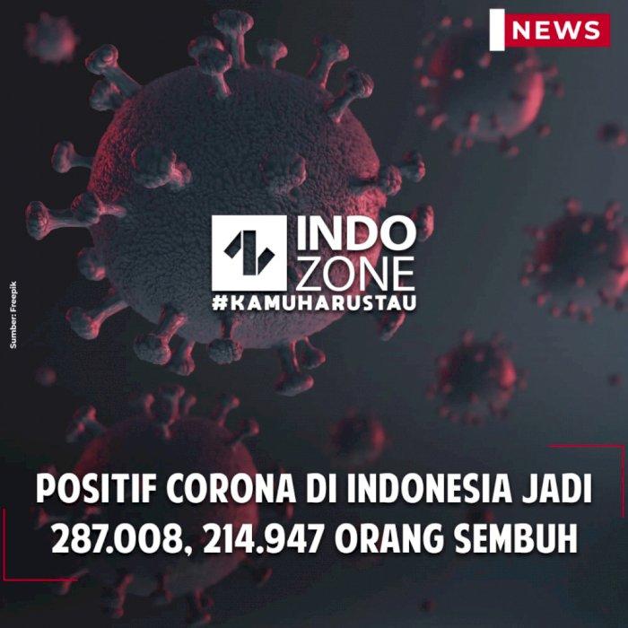 Positif Corona di Indonesia Jadi 287.008, 214.947 Orang Sembuh
