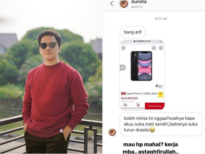 YouTuber Arief Muhammad Geram Dapat DM Fans yang Minta Belikan Handphone Mahal: Kerja Mbak
