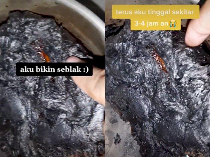 Cewek ini Niatnya Ingin Masak Seblak Namun Berujung Gosong, Bikin Netizen Melongo