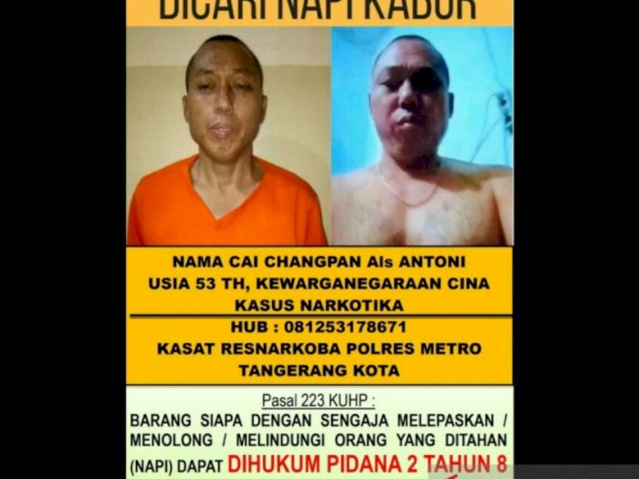 Lima Oknum Petugas Lapas Tangerang Dinonaktifkan Terkait Kaburnya Cai Changpan