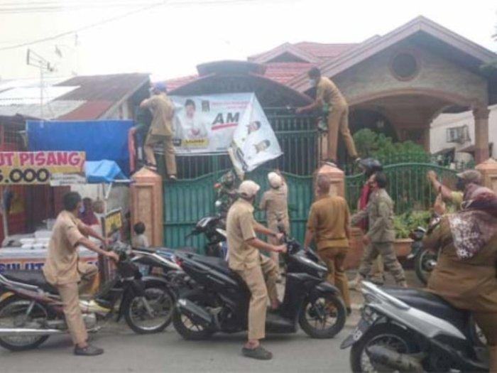 Tidak Sesuai Jadwal, Sejumlah Spanduk Kampanye Paslon di Pilkada Medan Ditertibkan Bawaslu
