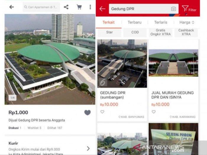 Heboh Iklan Gedung DPR dan Anggotanya Dijual Rp1.000