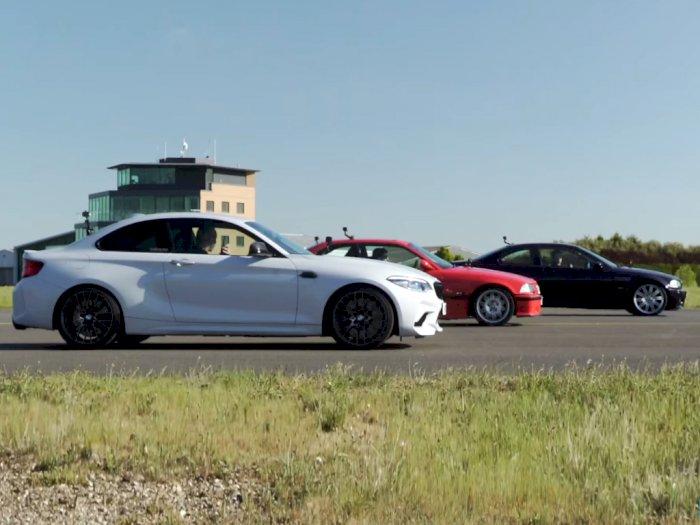 Pertarungan Drag Race Antara Mobil BMW M2 Competition, M3 E46, dan M3 E36