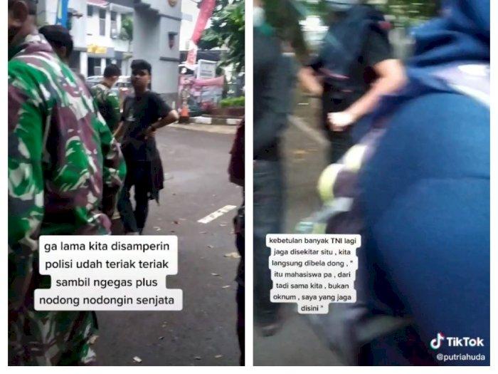 Cerita Mahasiswa Disamperin Polisi saat Istirahat Bubar Demo: Untung Ada Bapak TNI