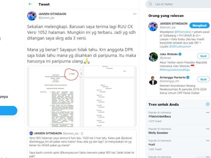 RUU Cipta Kerja, Politisi Demokrat 'Merepet' di Twitter