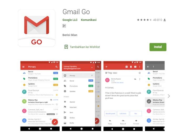 Google Bakal Mungkinkan Seluruh Perangkat Android untuk Install Gmail Go!