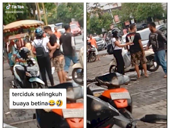 'Buaya Betina' Ketahuan Selingkuh di Parkiran Pasar, Jadi Tontonan Warga