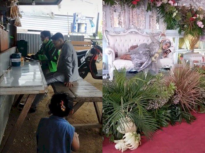 Pengantin Santuy! Lagi Acara Pernikahan Mempelai Pria Ngopi di Warkop & Wanitanya Rebahan