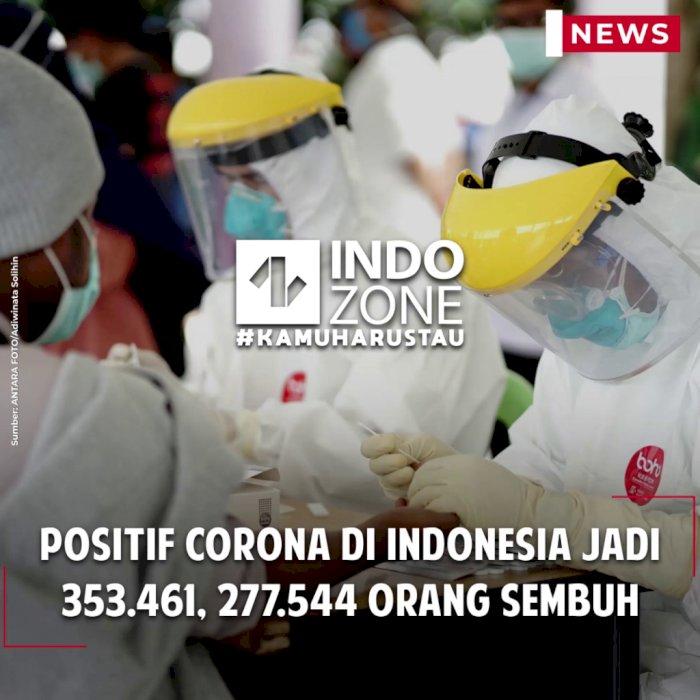 Positif Corona di Indonesia Jadi 353.461, 277.544 Orang Sembuh