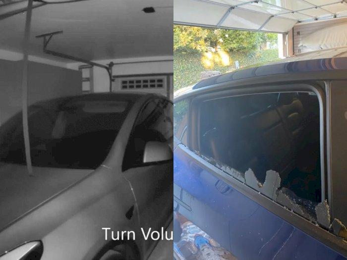 Melihat Kaca Jendela Belakang Tesla Model Y yang Pecah Saat Ada di Garasi!