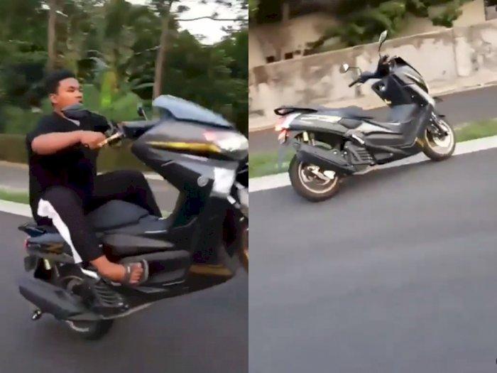 Niatnya Mau Wheelie, Pemuda ini Malah Terjatuh, Netizen: Kasian Motornya