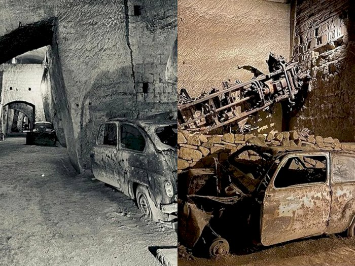 FOTO: Terowongan Berusia 160 Tahun Berisi Mobil dari Perang Dunia II di Bawah Kota Naples!