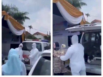 Viral Ambulans Bawa Seserahan Pernikahan Lengkap dengan Petugas Berpakaian APD