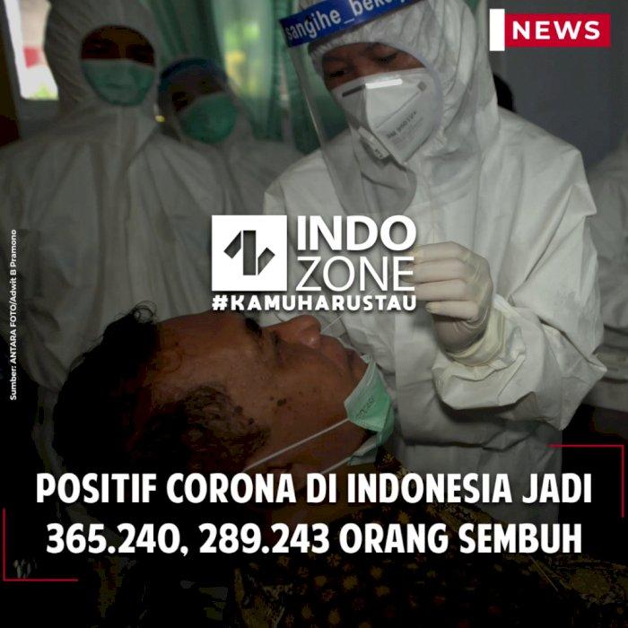 Positif Corona di Indonesia Jadi 365.240, 289.243 Orang Sembuh