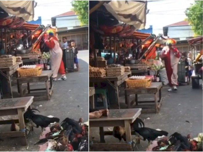Pilu Ayah Jadi Badut, Hibur Orang-orang di Pasar Tradisional, Demi Makan Anak dan Istri
