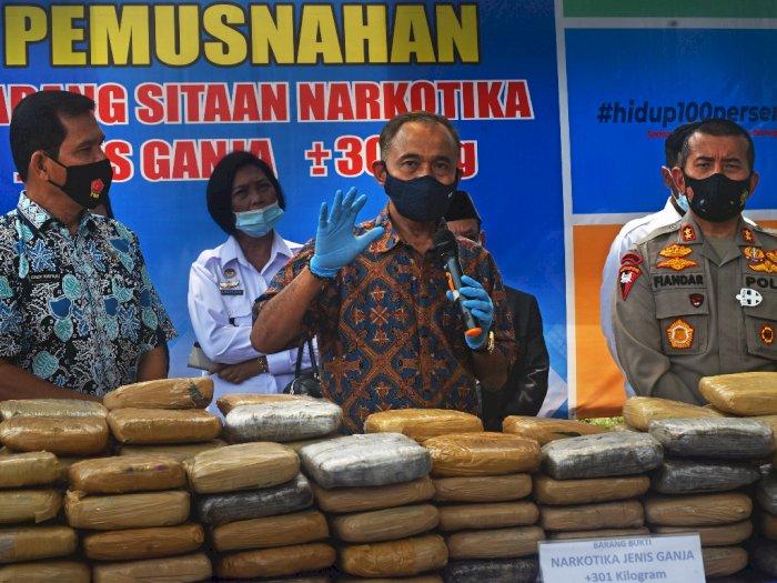 FOTO: Pemusnahan Ganja Sindikat Lintas Provinsi