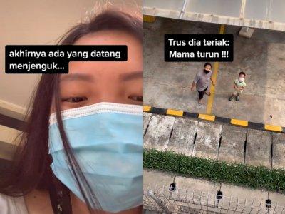 Momen Disaat Wanita ini Dijenguk Oleh Anaknya Saat Sedang Karantina, Teriak: Mama Turun