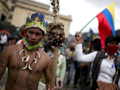 FOTO: Protes Terhadap Kebijakan Presiden Ivan Duque di Kolombia