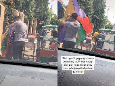 Salut! Pria ini Berikan Payung Tenda Untuk Penjual Es Cendol, Bikin Netizen Kagum