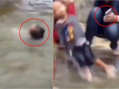 Asyik Selfie, Wanita Ini Tak Sadar Anaknya Tenggelam, Ogah Lepaskan Hp saat Tolong Anak