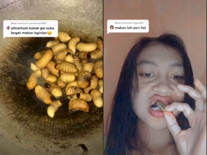 Cewek Cantik ini Doyan Masak dan Makan Ulat Sagu, Bikin Netizen Melongo