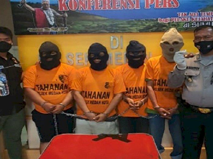 Lagi Pesta Sabu di Medan Maimun, Empat Pemuda Nginap di Mapolsek Medan Kota