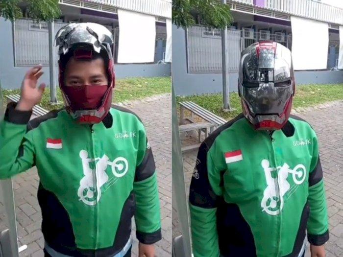 Keren! Ojol ini Pamer Pakai Helm Iron Man, Bisa Gerak Mirip Kayak Asli