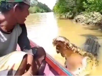 Aksi Santuy Pria yang Beri Makan dan Elus Buaya di Sungai, Bikin Netizen Deg-degan