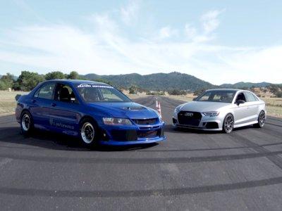 Melihat Duel Antara Mobil Audi RS3 dengan Mitsubishi Evo 8 di Drag Race