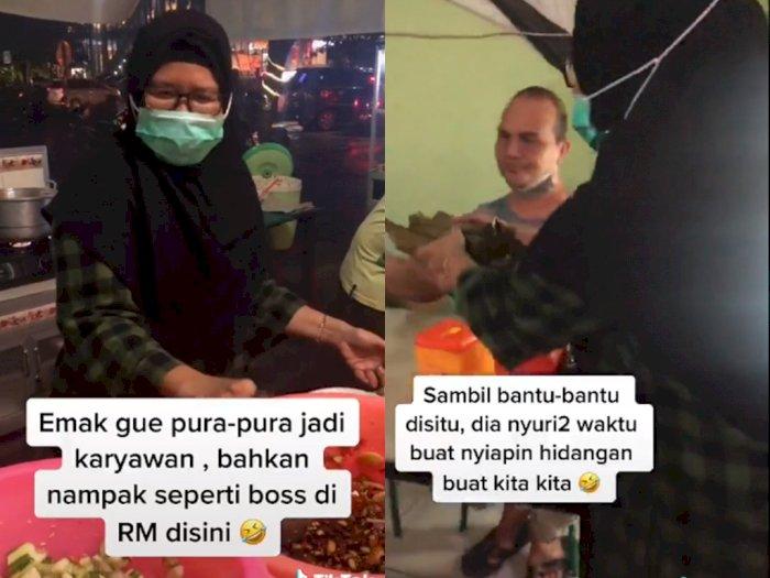 Antrean Panjang, Ibu ini Bantu Siapkan Hidangan Orang Lain, Netizen: Emak Gue Banget