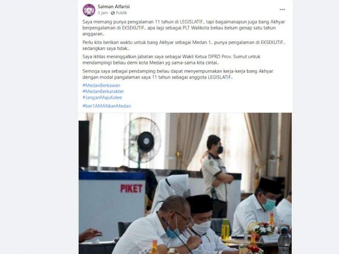Pilkada Medan, Salman Relakan Jabatan Wakil Ketua DPRD Sumut Demi Kota Medan