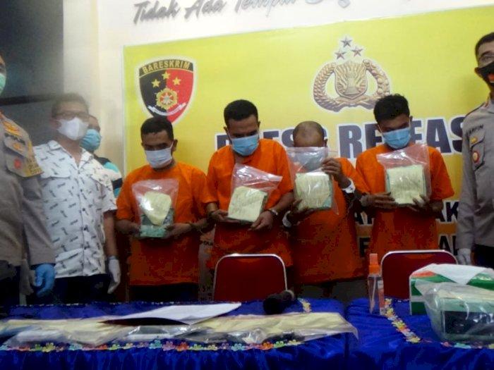 Selundupkan 6 Kg Sabu dari Jaringan Internasional, 4 Pria Aceh Diciduk di Ringroad Medan