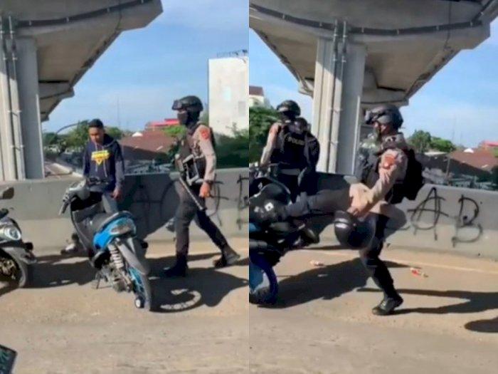 Pemuda Ini Diamankan karena Geber-geber Motor Saat Konvoi, Netizen Salfok ke Tendangan