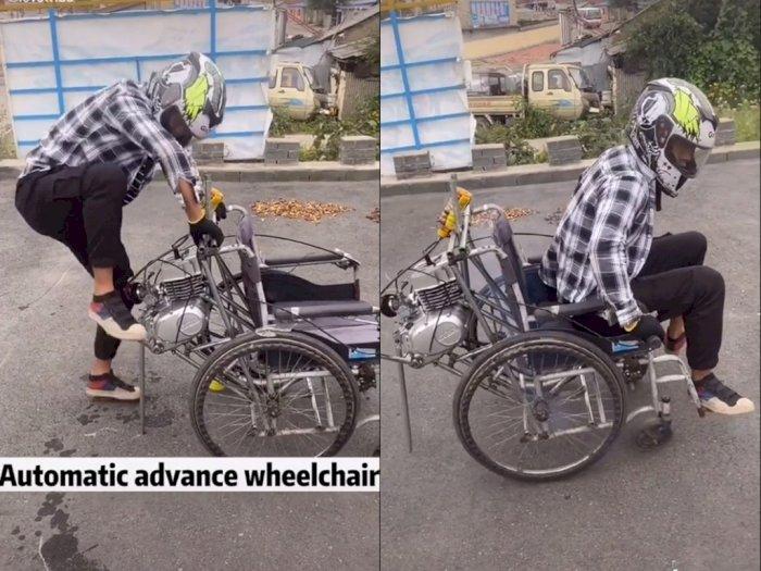Pria ini Pasang Mesin Motor ke Kursi Roda, Netizen: Yang Ngengkol Siapa Oi