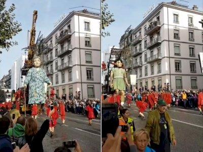 Pertunjukan Boneka Royal de Luxe Setinggi Gedung, Matanya Bisa Berkedip