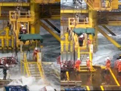 Video Detik-detik Saat Pekerja Offshore Diterjang Ombak, Netizen: Pantas Digaji Tinggi