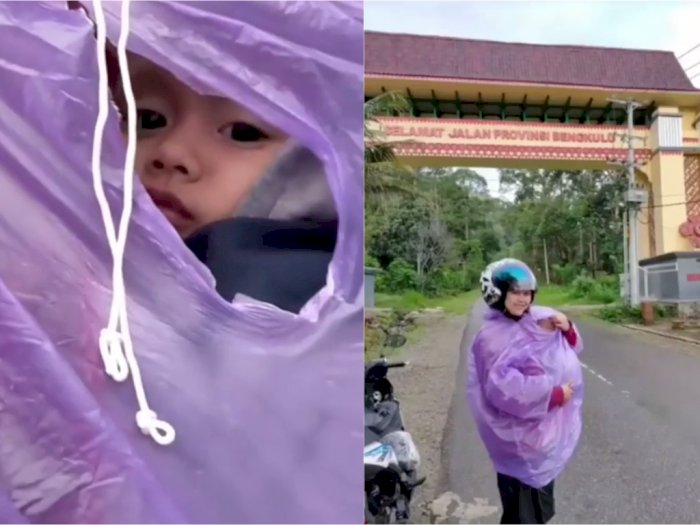 Pria Ini Sedih Lihat Istri Gendong Anak dalam Jas Hujan: Maaf Papa Belum Mampu Beli Mobil