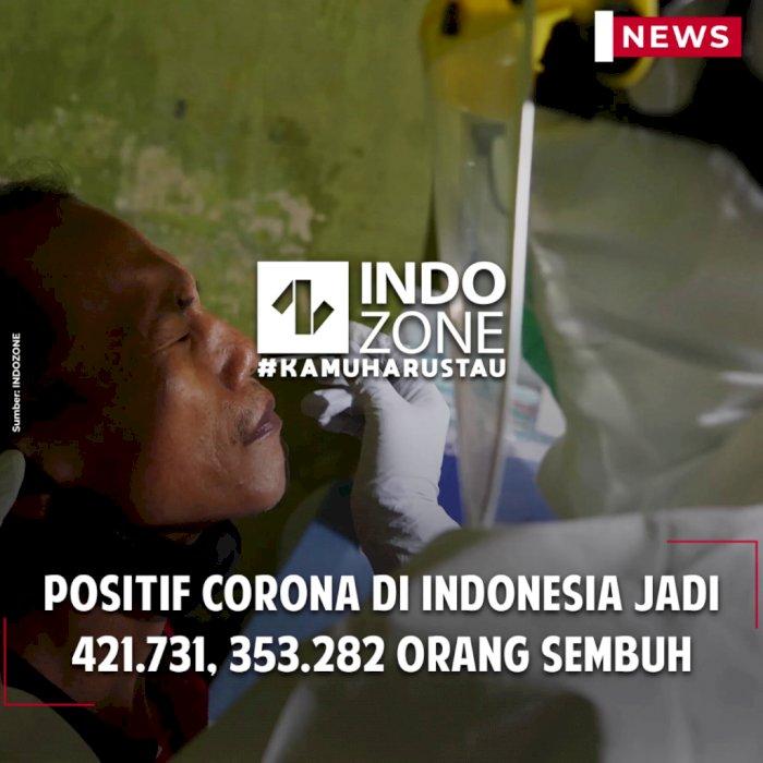 Positif Corona di Indonesia Jadi 421.731, 353.282 Orang Sembuh