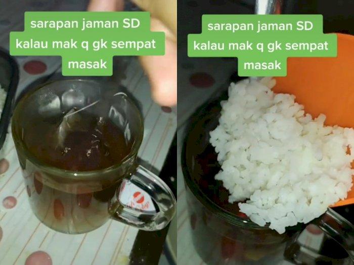 Campur Teh Manis Dengan Nasi Putih Untuk Sarapan, Netizen: Mual Gue