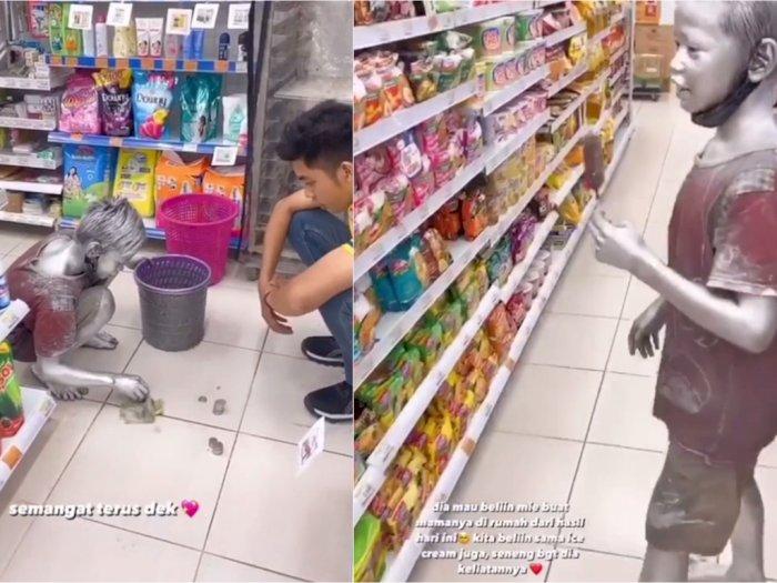 Haru! Bocah 'Manusia Silver' Ini Kumpulkan Uang demi Beli Mie Instan untuk Ibunya