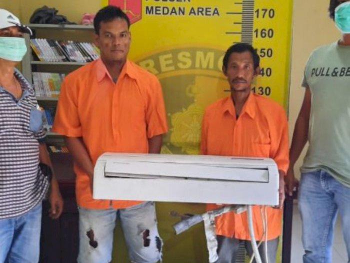 Terciduk Curi AC di Rumah Warga, 2 Pria di Medan Langsung Diringkus Petugas