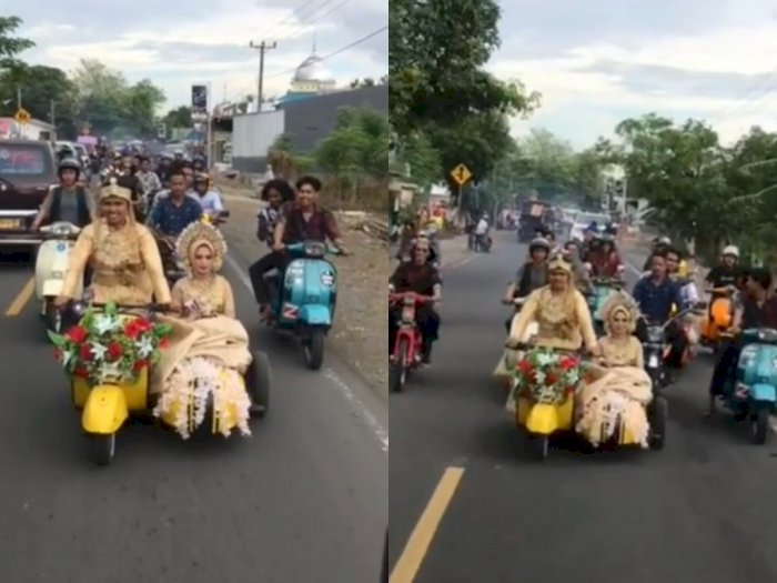 Jauh dari Kata Mewah, Pasangan di Sulsel Rayakan Pernikahan dengan Naik Vespa