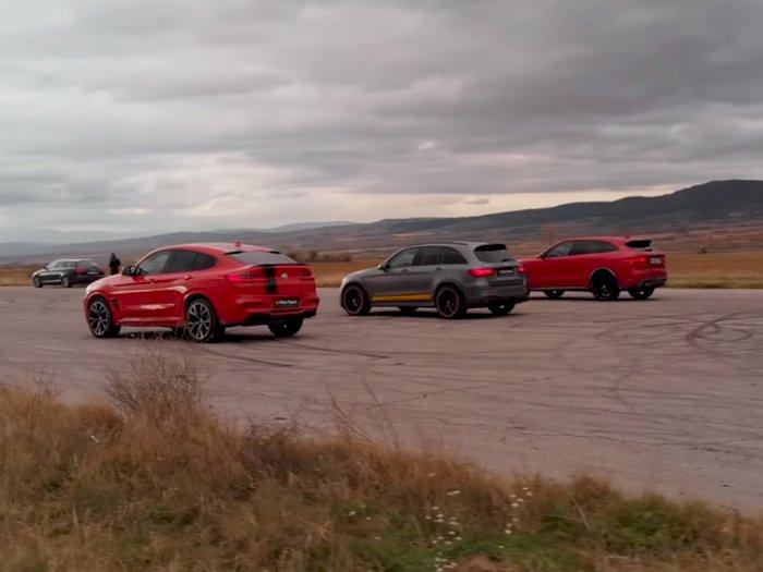 Melihat Drag Race Mobil SUV BMW X4 M, Mercedes GLC 63S, dan Jaguar F-Pace SVR!