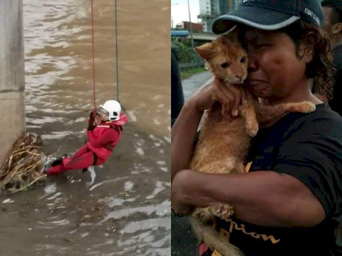 Tangis Wanita Ini Pecah saat Pemadam Kebakaran Berhasil Selamatkan Kucingnya yang Hanyut